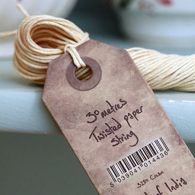 East of India Twisted Cream Paper String for Vintage Wrapping 30m