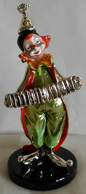 Hazorfim Israel Electroform Sterling Silver Hand Painted Clown With Accordion