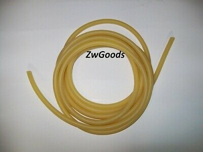 "15 Continuous Feet 3/16"" ID x 1/16 w x 5/16 OD Natural Latex Rubber Tubing Amber"