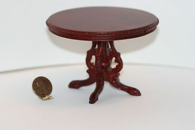 Dollhouse Miniature Hand Carved round Table in Mahogany