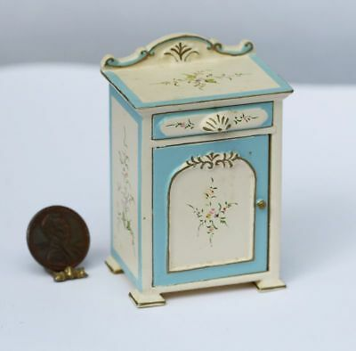 Dollhouse Miniature Hand Painted Orante Night Stand in Bue & Cream w/ Floral ...