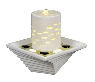 White Ceramic Water Feature with LED Fish Night Light & Fountain Pump