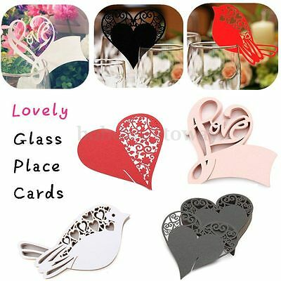 50pcs Wedding Name Wine Glass Place Cards Party Ceremony Table Paper Decoration