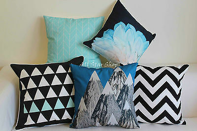 Art Navy Aqua Black Home Decor Cotton CUSHION COVER Throw PILLOW CASE 18""