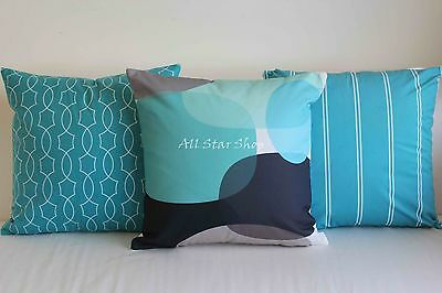 Art Aqua Blue Black Home Decor Cotton CUSHION COVER Throw PILLOW CASE 18""