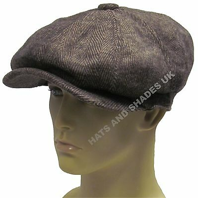 869989b42c PEAKY BLINDERS NEWSBOY Gatsby Cap Hat Tweed herringbone Flat 8 Panel ...