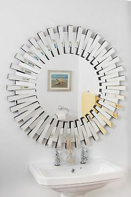 Large Wall Mirror 3Ft (91cm) Contemporary 3D Sunburst All Glass Round Bathroom