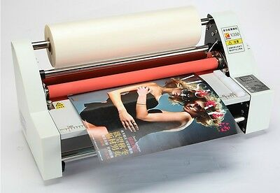 "110V/220V 13"" Laminator Hot Double Side Roll Laminating Machine 4 rollers"