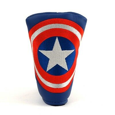 Captain America Blade Putter Blue Head Cover for TaylorMade Odyssey Wilson Staff