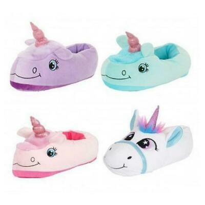 Womens Girls Novelty 3D Unicorn Slipper Boots Ladies Cosy Footwear Soft Slippers
