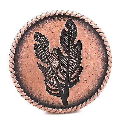 """Feather Concho Antique Copper with Rope Border Screwback 1-1/4"""" by Stecksstore"""