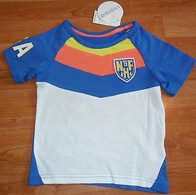 New M&s Baby Boys Age 18-24 Months Cotton T-Shirt Blue White American Football