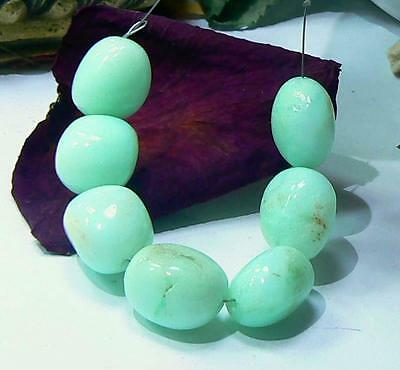 7 RARE NATURAL UNTREATED AUSTRALIAN APPLE GREEN CHRYSOPRASE NUGGET BEADS 15-16mm