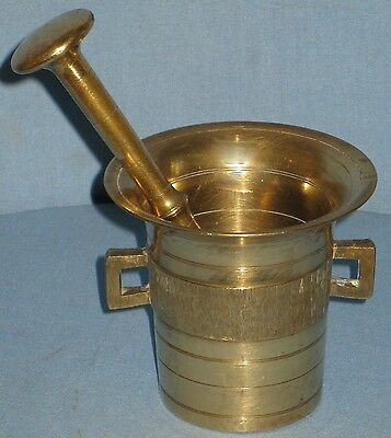 Antique Solid  Brass Pharmacy Mortar & Pestle 2-Handles Serrated Band