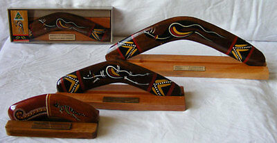 "Boxed Boomerang - Classic Traditional Hand-Painted 10"" with Display Stand"
