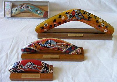 """Boxed Boomerang - Aboriginal Art Modern Hand-Painted 14"""" with Display Stand"""
