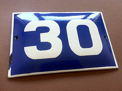 ANTIQUE VINTAGE ENAMEL SIGN HOUSE NUMBER 30 BLUE DOOR GATE STREET SIGN 1950's