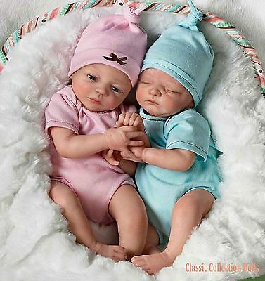 "Ashton Drake ""MADISON AND MASON""- ITS TWINS! - LIFELIKE 13"" BABY DOLLS - NEW"