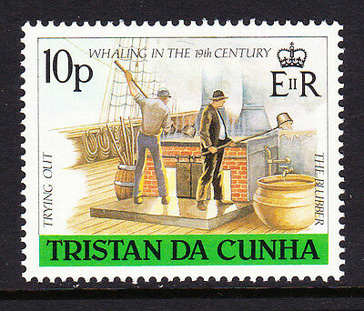 TRISTAN DA CUNHA 1988 10p WHALING WITH CROWN TO RIGHT OF CA SG 452w MNH.