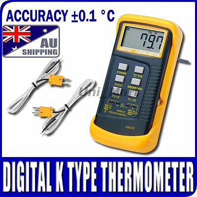 AU Ship Thermometer 2 K-Type Thermocouple Sensor 1300°C Temperature Metal Melt