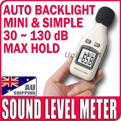 AU Mini Sound Pressure Level Meter Noise Decibel 30~130dB Tester Backlight Audio