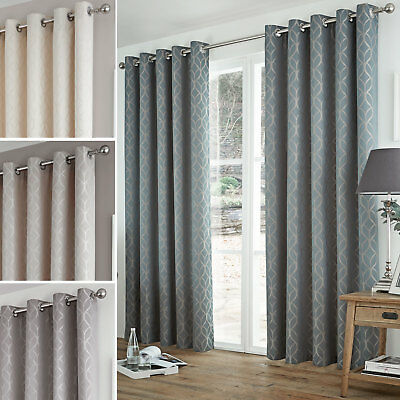Waves Jacquard Thermal Curtains Pair - Ready Made - Ring Top Eyelet