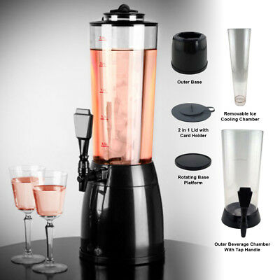 2.5Ltr Tabletop Drink Beverage Dispenser Ice Core Cold Juice Beer Cocktail Party