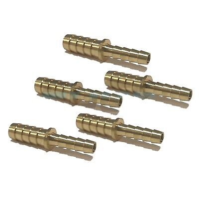 (5 Pieces) 3/8 X 1/4 Hose Barb Mendor Union Splicer Brass Fitting Gas Fuel Water
