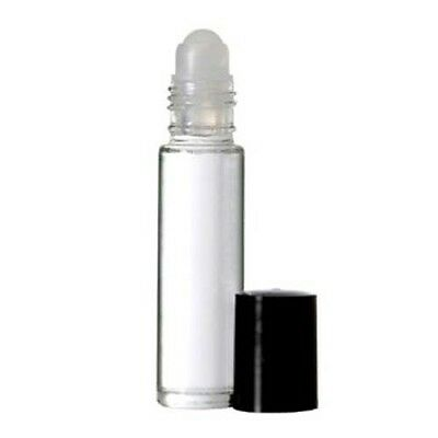 72 Clear Glass Roll On Bottle W/ Black Cap and Roll On Insert 1/3 oz. 10 ml.