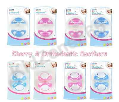 First Steps Soothers Dummies Pink Blue Baby Cherry & Orthodontic Teats Pacifiers