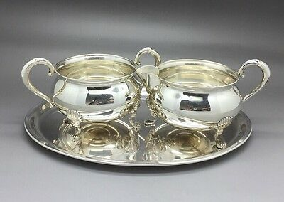 Vintage, Fisher Sterling Silver Cream & Sugar Set 710 With Fisher Tray 2205