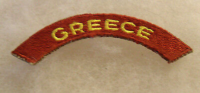 """Wwii """"greece"""" Army Transport Service Tab Cotton Cut Edge P&g On Back"""