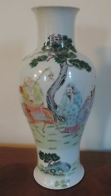 Antique Chinese Porcelain Vase Immortals Deer Scholars Landscape Famille Rose