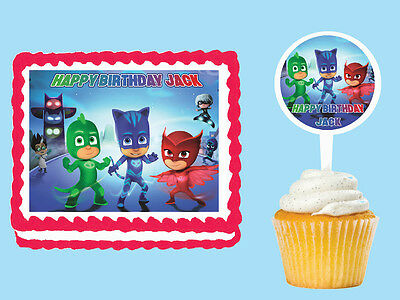 PJ Masks Edible Birthday Party Cake Cupcake Toppers Icing  Decorations