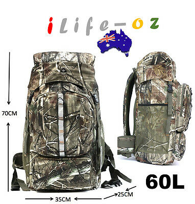 60L  Water proof Camping Hiking Army Camo Backpack Travel Gear Bag