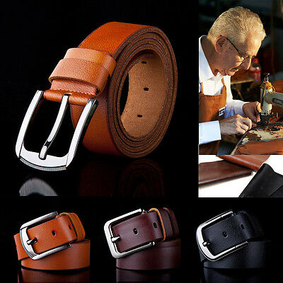New Quality luxury Genuine Leather Mens Jeans buckle Belt Leisure Waistband