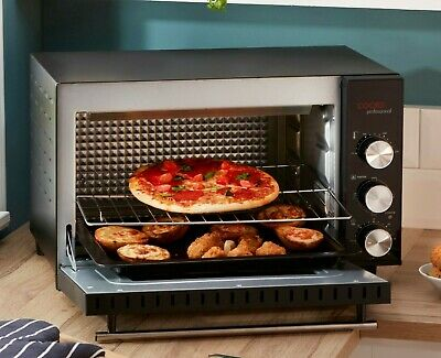 Cooks Professional Mini Oven 34L Table Top Cooker Baking Grill 1800W & Wire Rack