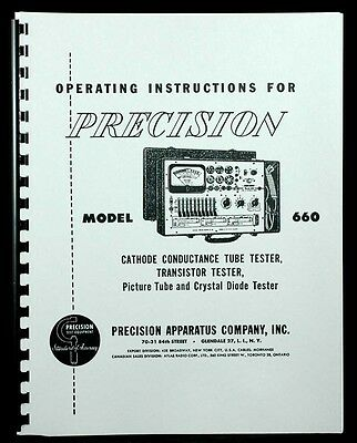 Precision Tube Tester Model 660 Operating Instructions with Tube Data
