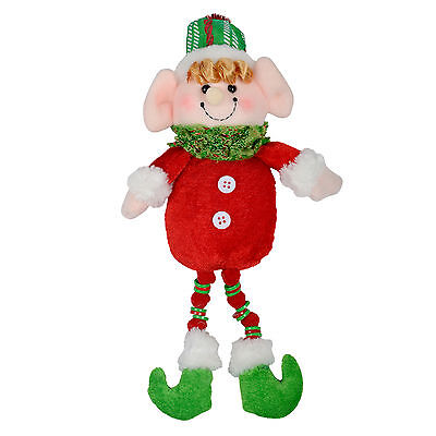 Elf Christmas Tree Decoration - Red & Green Figure With Hanging Loop - 32cm