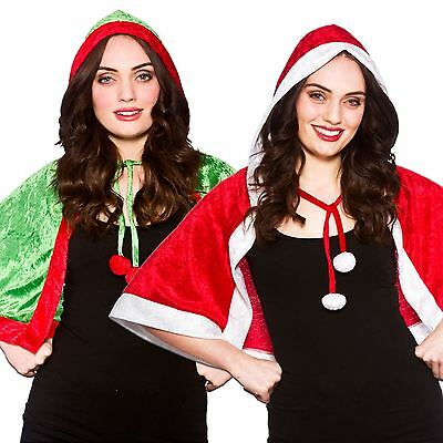 Ladies Womens Hooded Christmas Xmas Elf Santa Cape Fancy Dress Costume Outfit