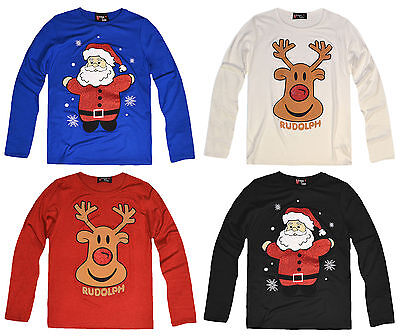 Girls Christmas Top Kids Xmas T Shirt Novelty Rudolph Penguin New Age 2-13 Years
