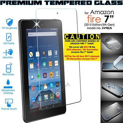 """100% Genuine TEMPERED GLASS Screen Protector Cover for Amazon Fire 7"""" 2015/5th"""