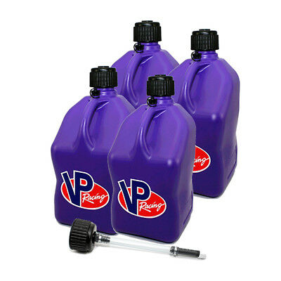 4 Pack VP Racing Purple 5 Gallon Square Fuel Jug/ Extra Cap / Hose Water/Gas Can