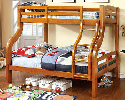 Solpine Kids Youth Twin over Full Bunk Bed Curved Wood Design Bold Sturdy in Oak