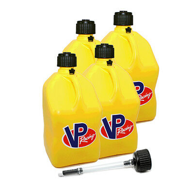 4 Pack VP Racing Yellow 5 Gallon Square Fuel Jug/ Extra Cap / Hose Water/Gas Can