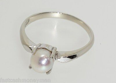 Vintage B&f 14K White Gold Pearl Solitaire Ring Baden & Foss Size 7 Estate Find