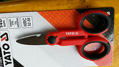 Stainless Steel electrician Scissors, 140mm. Insulated handle HRC 52-56 YATO