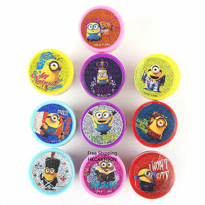 Taiwan Made Minions Cartoon Plastic Ink 10 Pcs Set Auto Stamps 847172
