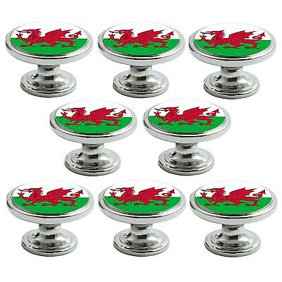 Polished Chrome Knobs Wales Flag 38mm Cupboard Drawer Door Handle Decorated