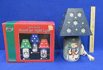 Snowman Night Light Mason Jar Base with Wooden Shade Handpainted Christmas Decor